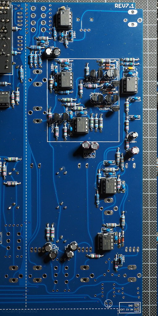 Main Board, Preamplifier, Envelope Follower and Ring Modulator Completed